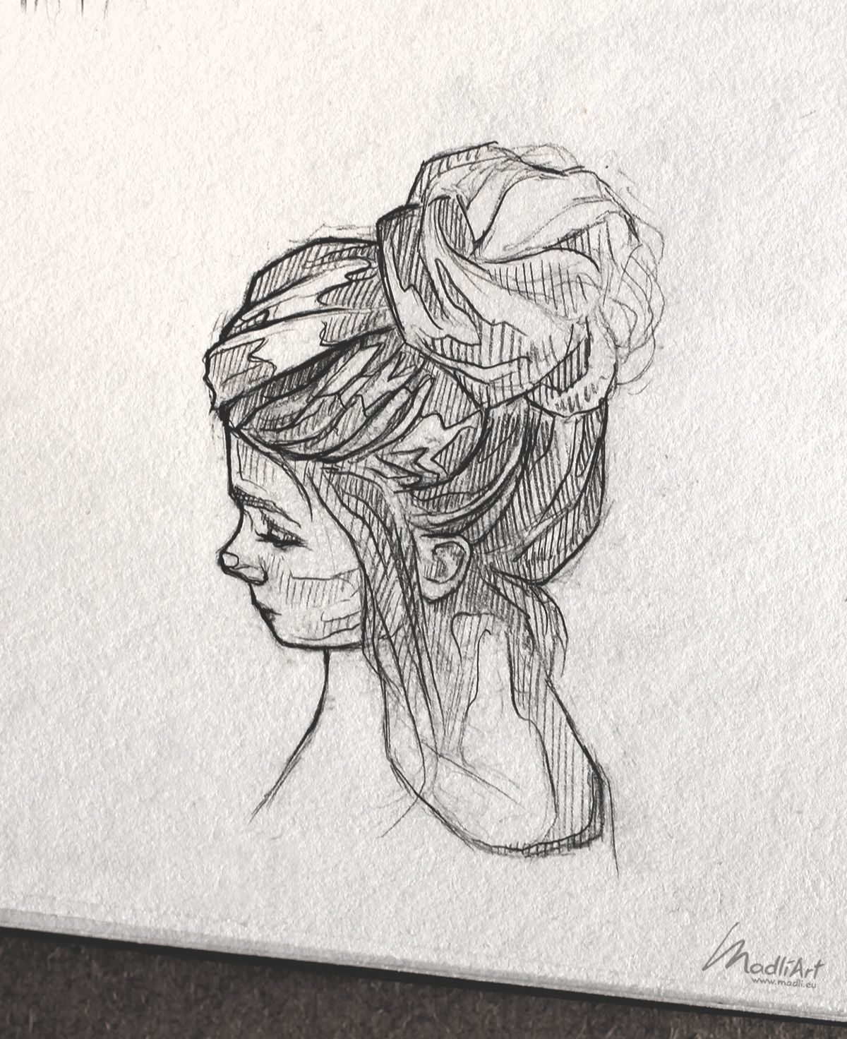 Photo of Sketchbook Art I Drawing Girls Bun hairstyle I Cute Girly Sketch I Drawing portr…