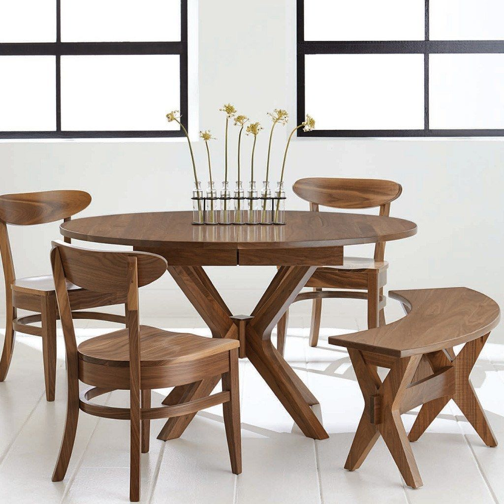 Vadsco Single Pedestal Extension Table Round Dining Table Modern