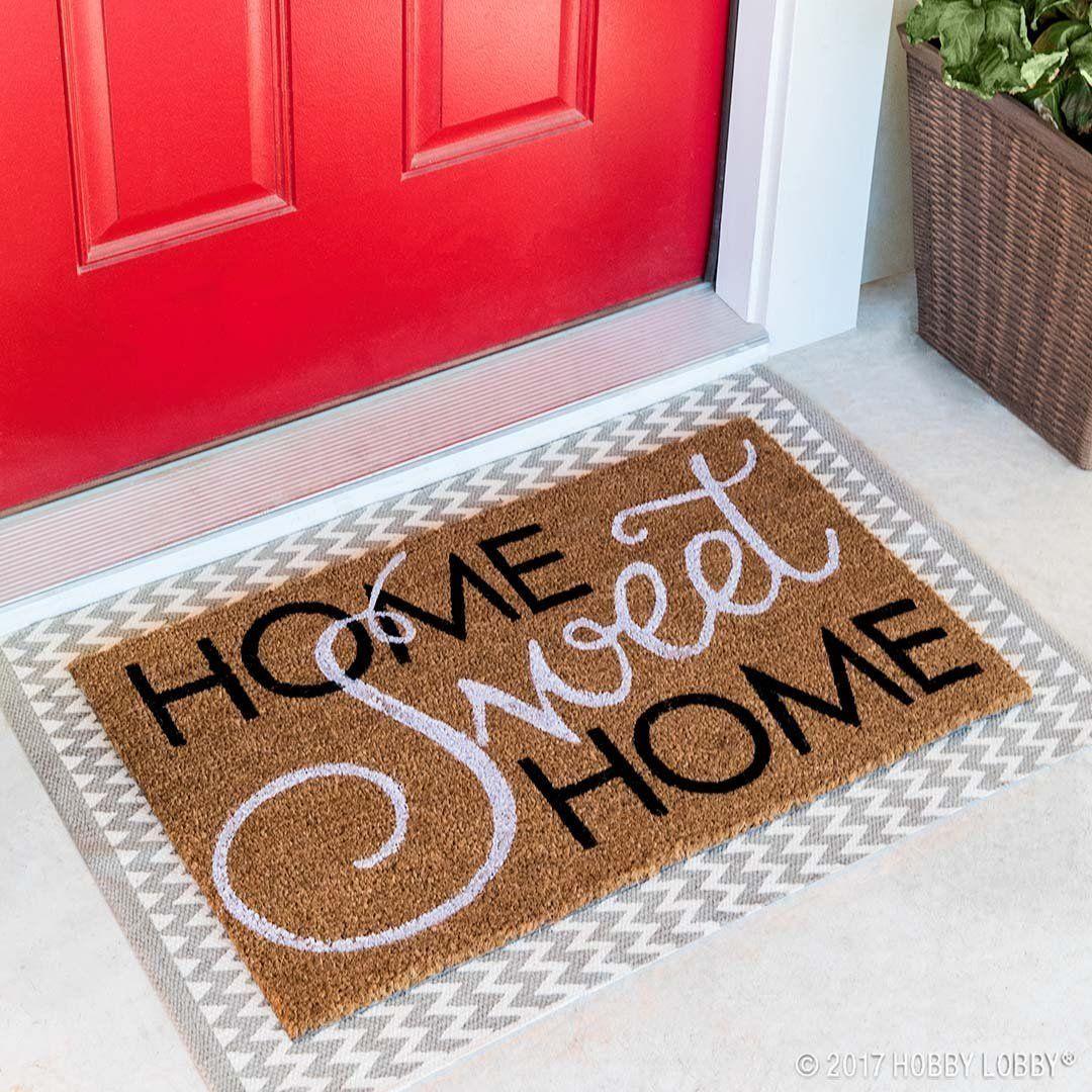 A Sweet Greeting Is Sure To Make Your Guests Feel Right At Home Door Mat Diy Door Mat Front Door Mats
