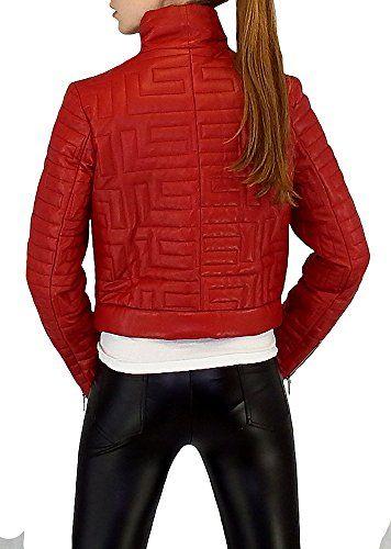 get cheap d2566 ae6d4 moderne Damen Echte Lederjacke in einem