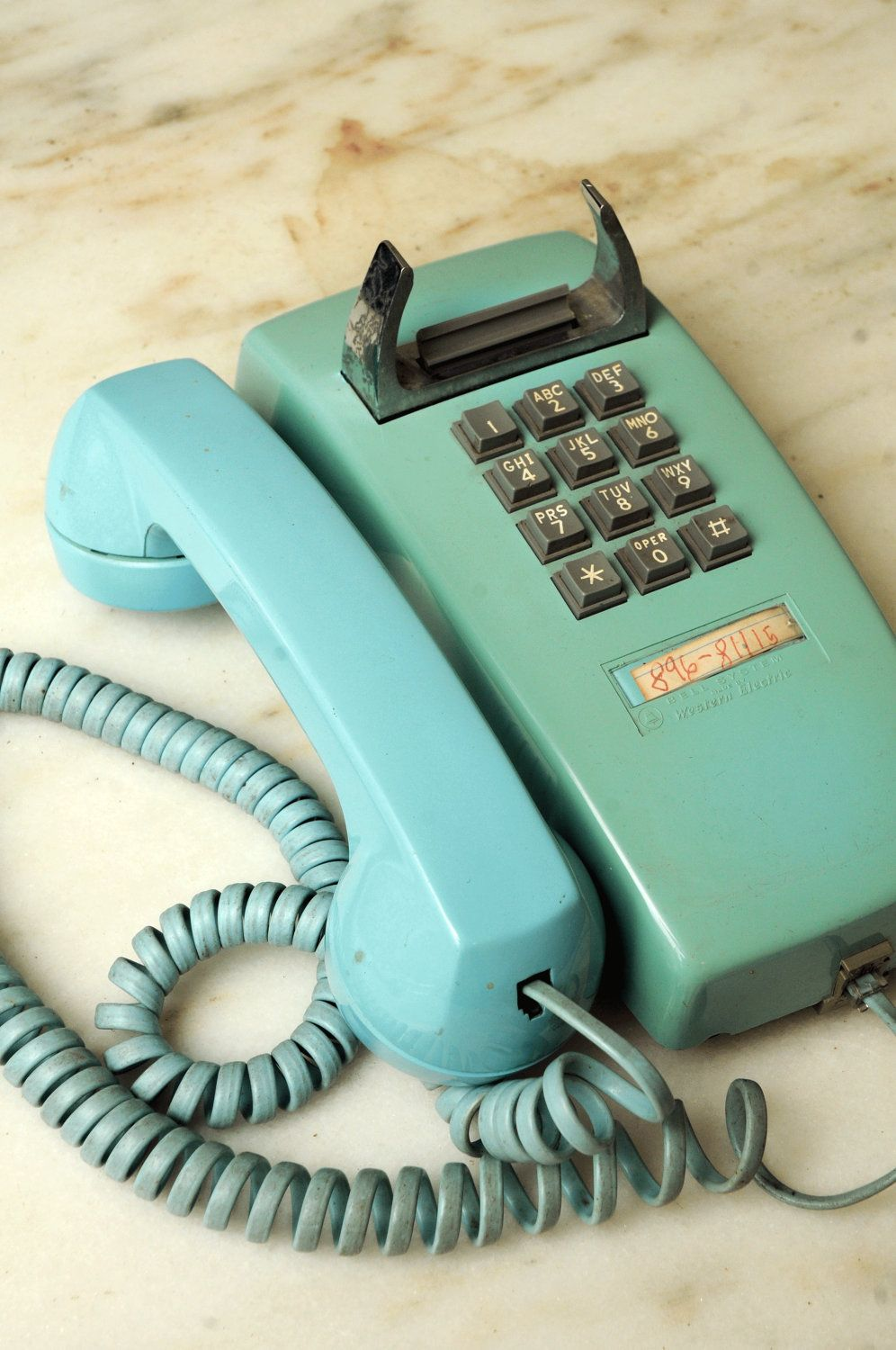 Turquoise Shabby Corded Wall Telephone Phone Bell Systems Western ...