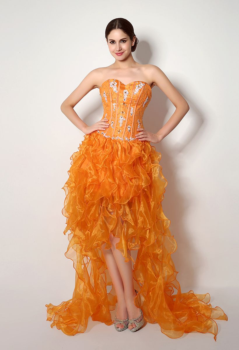 Aline sweetheart highlow hem organza party dress with beads and