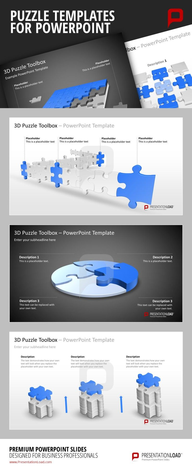 Puzzle PowerPoint Templates Puzzle pieces to represent contexts ...