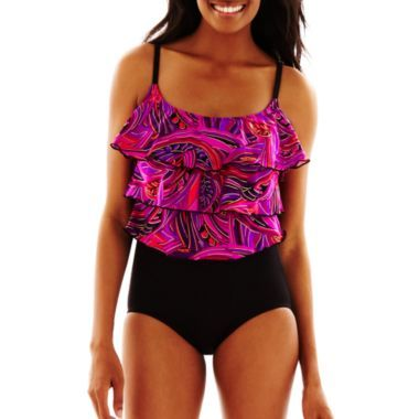 c87df57851 Cute In Pink Too! Robby Len by Longitude® Triple Tier One-Piece Swimsuit!  JcPenney!