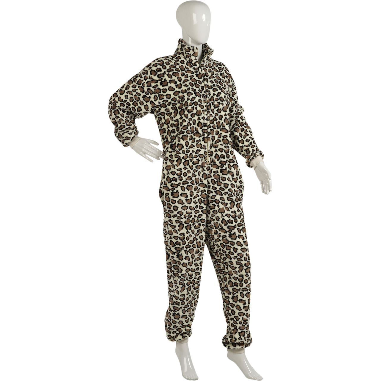These ladies super soft fleece onesies are a leopard print design throughout and would make a lovely addition to your nightwear this season.