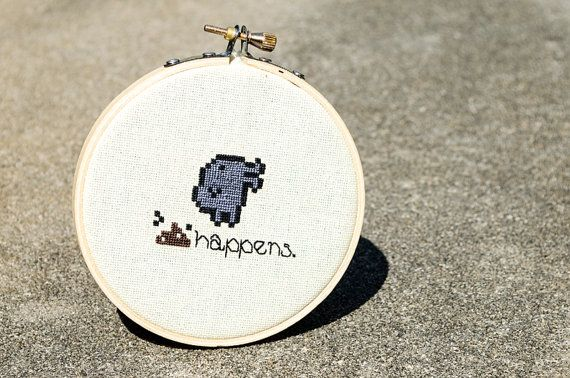 Crap Happens A Tamagotchi CrossStitch by LuckyAccidents on Etsy, $25.00