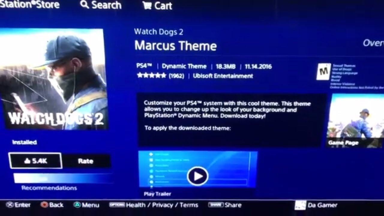 PS4 PSN STORE DOWNLOADED WATCH DOGS 2 MARCUS THEME DYNAMIC
