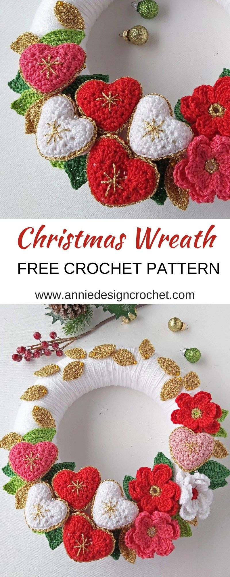 Photo of Crochet Christmas Wreath with Flowers and Hearts – Free Pattern – Annie Design C …