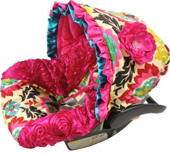 NEW 3D Roses Hot Pink Fancy Floral, Stunning Infant Car Seat Cover