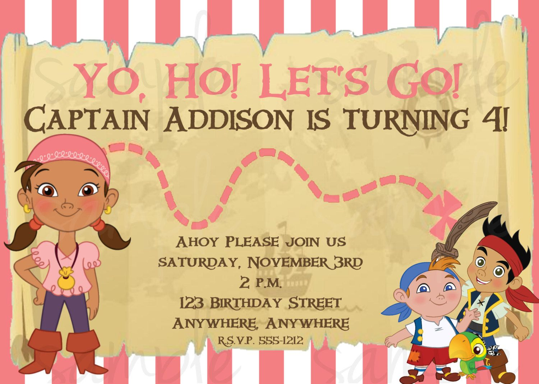 Jake and the Neverland Pirates Birthday Invitation Girl. $12.50, via ...