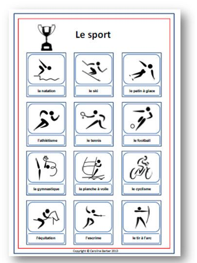 great for teaching kids french sports french vocabulary poster with by frenchteachingaids 5. Black Bedroom Furniture Sets. Home Design Ideas