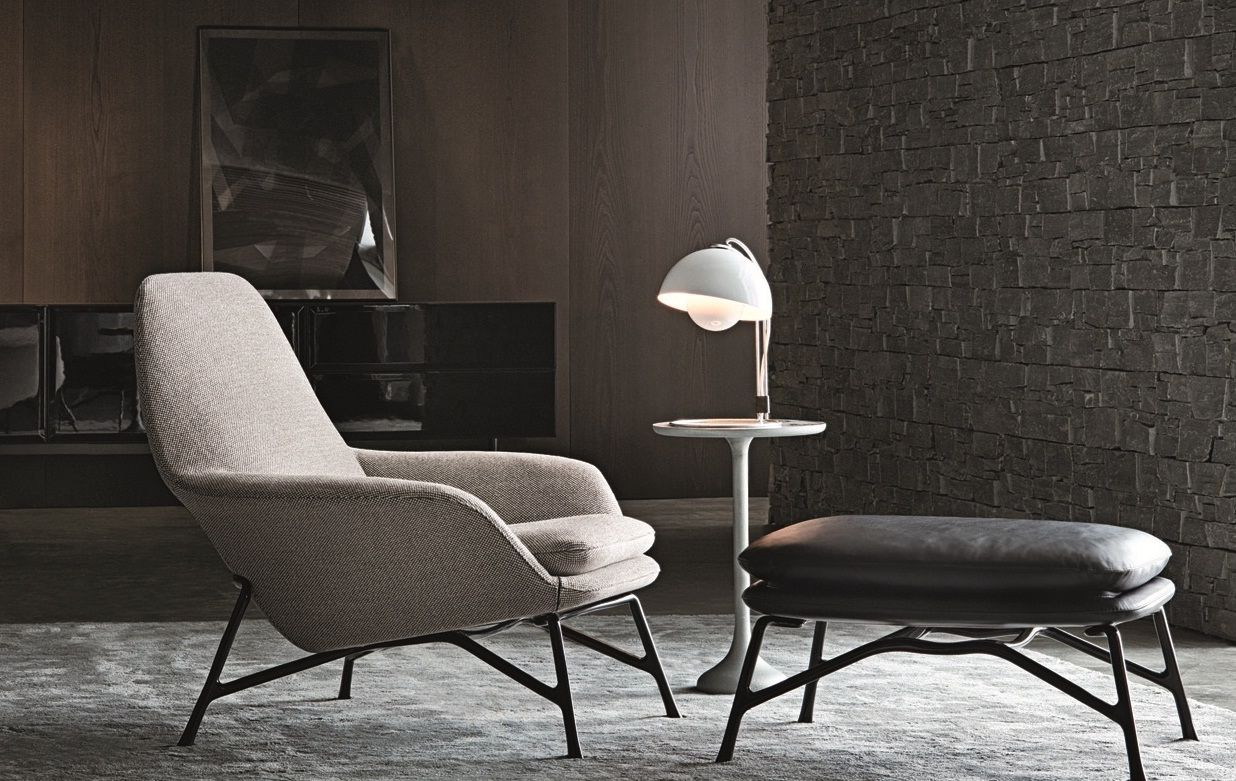 prince chair and footstool by minotti furniture. Black Bedroom Furniture Sets. Home Design Ideas