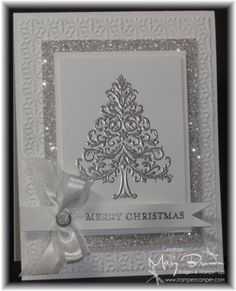 handmade Christmas card ... silver and white .... sparkly delight ...