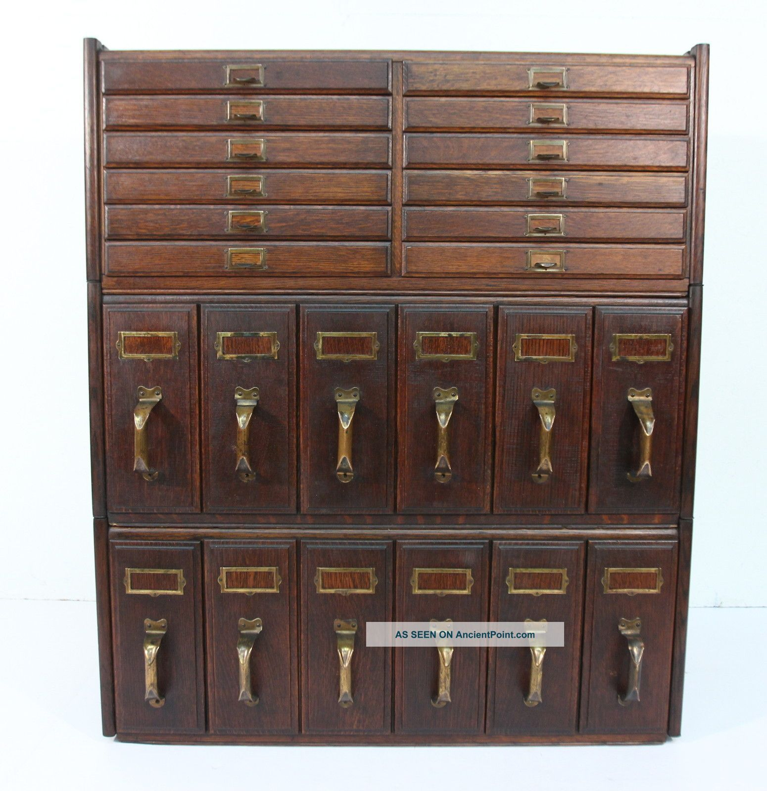Antique Oak Three Stack File Cabinet 1 - 12 Drawer 2 - 6 Upright ...