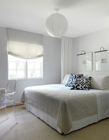 Lindsey Meadows Bedrooms Ghost Chair Roman Shade Gray Shades Window Treatments Art Over Bed C