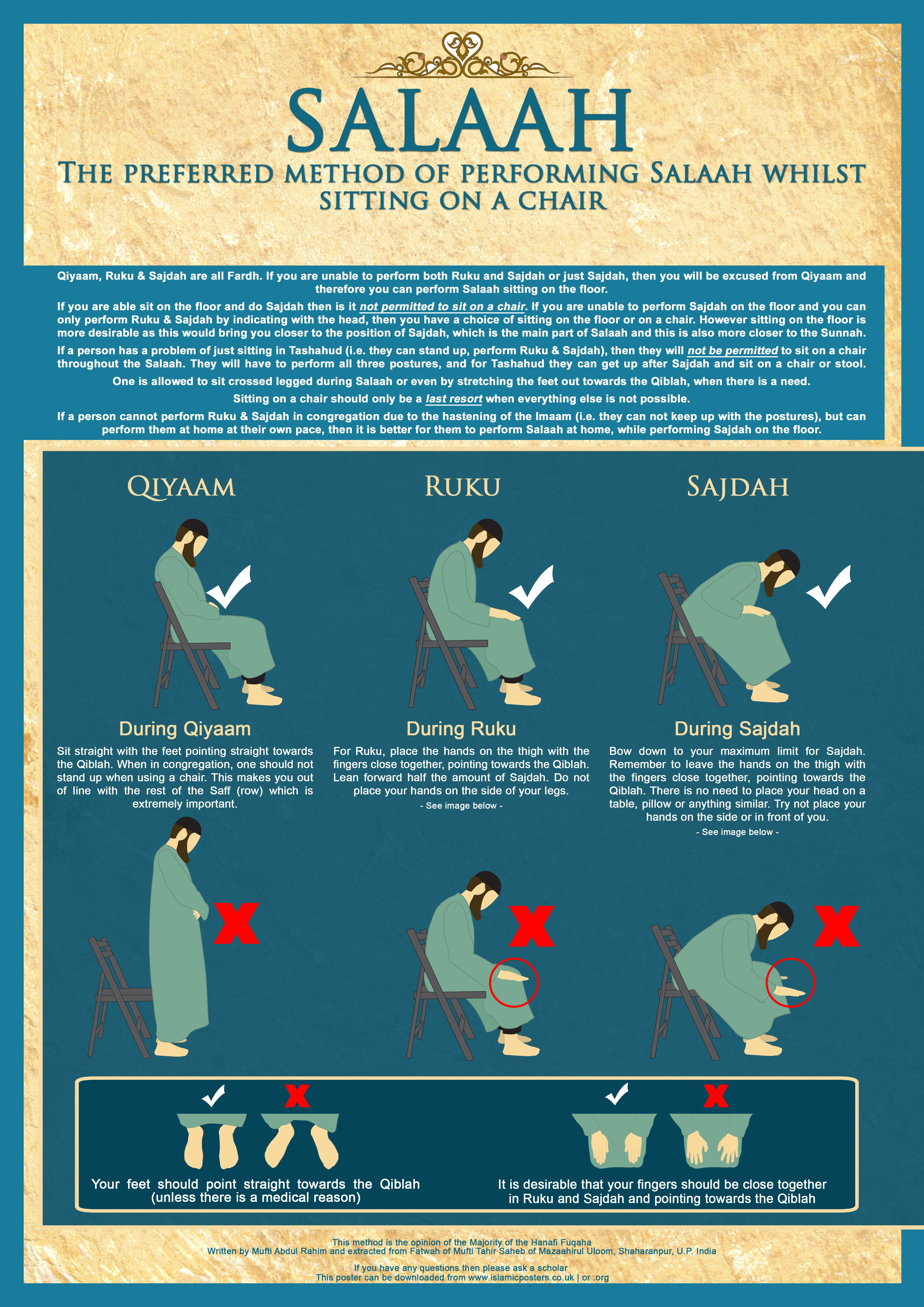 How to pray your salah/salat whilst siting in a chair ...