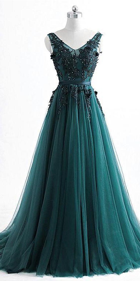 Romantic V neck Green Lace Appliques Tulle Long Prom Dress,GDC1204