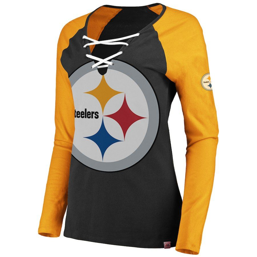 finest selection 2a386 8ef21 Women's Pittsburgh Steelers Majestic Black/Gold Long Sleeve ...