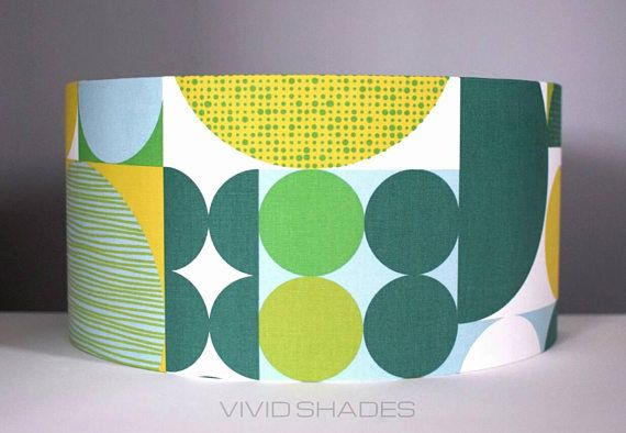 My Name Is Shade.Funky Lampshade Retro Abstract Fabric Printed In England 40cm Drum