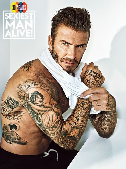Sexiest man alive david beckham on his 40 plus tattoos i for David beckham tattoo sleeve
