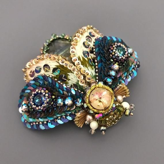 e189dc419ce Cobalt blue bead embroidery moth brooch. Womans large lapel pin with  Labradorite and Swarovski crystals.