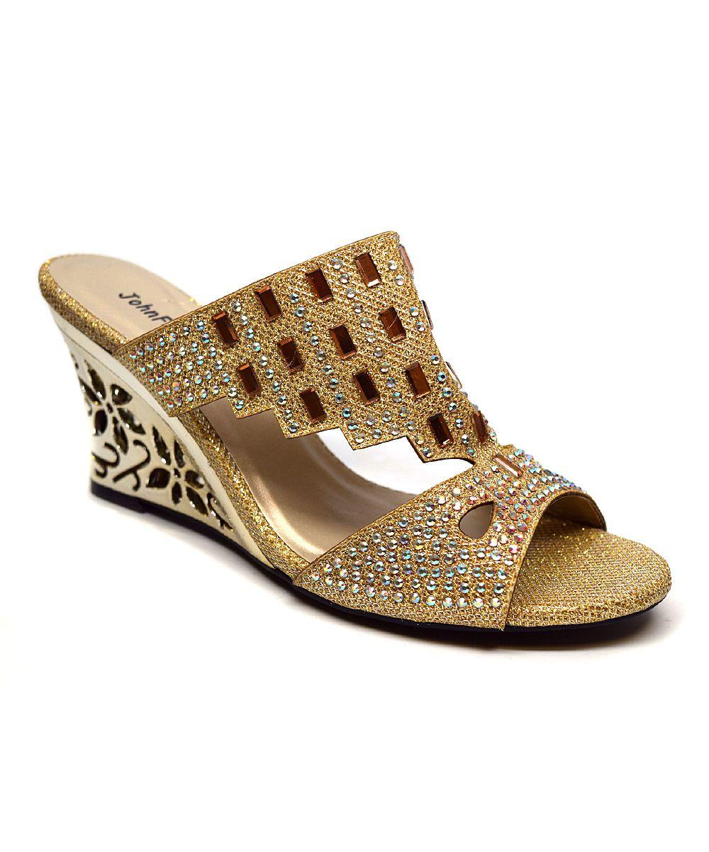 John Fashion Gold Rhinestone Wedge zulily Shoe Therapy
