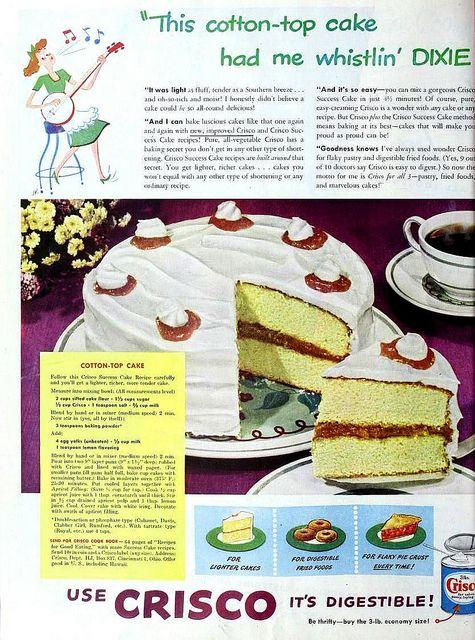 Cotton top cake by crisco june 1948 vintage recipes for Du bonheur dans la cuisine
