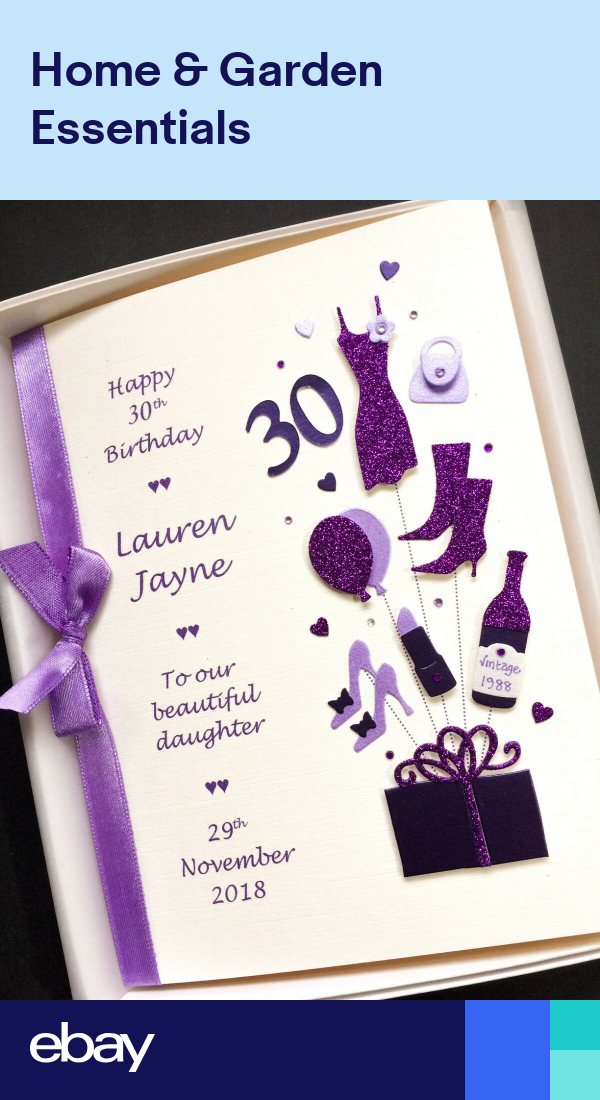 Personalised 30th Birthday Card For Daughter Wife Sister Handmade Gift Boxed 30th Birthday Cards Sister Birthday Card Daughter Birthday Cards