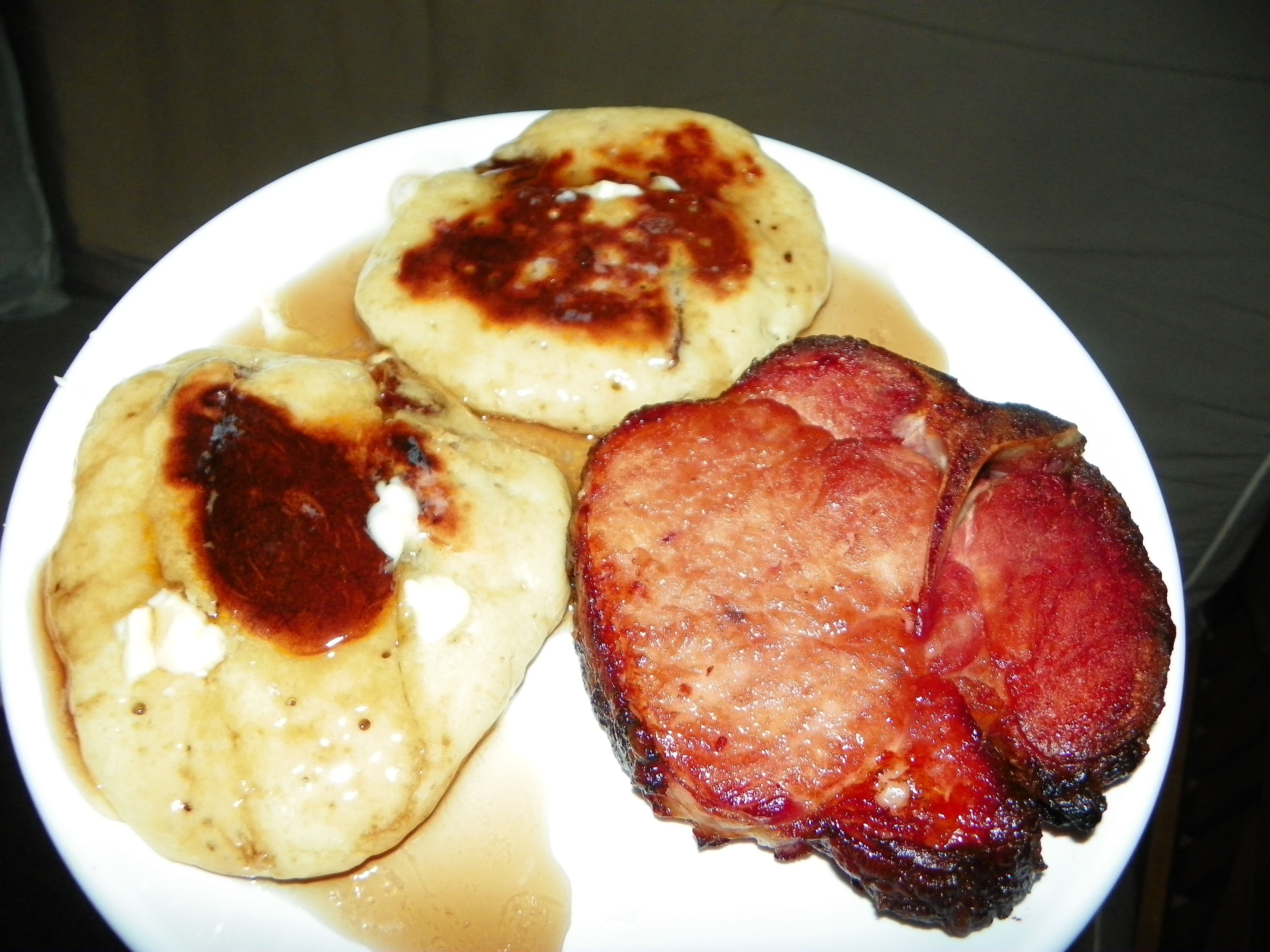 Beer Pancakes with smoke Porkchop.  1 C sifted all-purpose flour, 1/4 C. white sugar, 3/4 tsp. baking powder, 1/2 tsp. salt, 1 egg beaten, 1 cup beer (root beer for kids),   2 TBS. melted butter