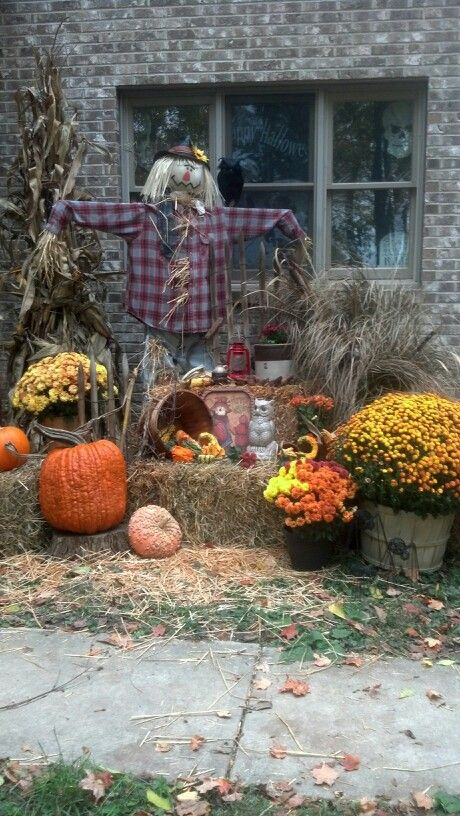 Fall Decoration Straw Bales Corn Stalk Fodder Shock Mums Pumpkins Gourds My Dyi Scarecrow And Finish Off With All The Little Extras You Love