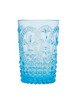 Neonblaues Glas aus Acryl