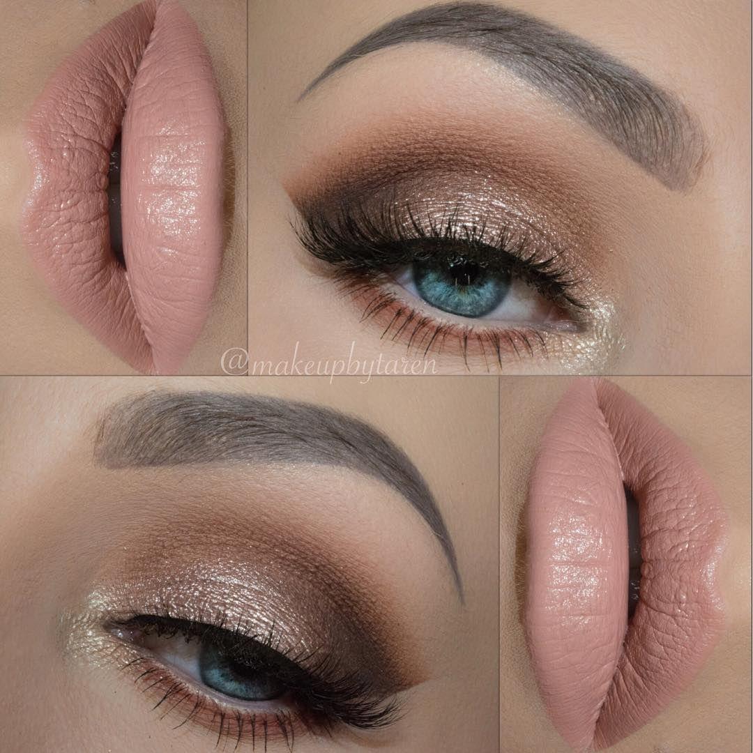 Shimmery Gold Neutral Eye W Soft Nude Lips Makeupbytaren Makeup