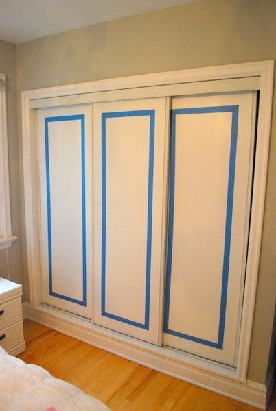 What A Genius Idea For Making Those Boring White Sliding Closet How To Paint  Faux Trim On Closet Doors Closet Doors Doors And What Color For Closet  Doors ...
