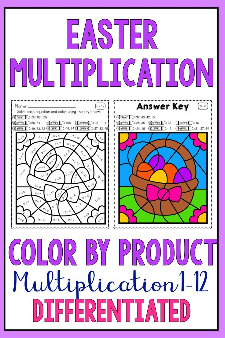 Easter Math Differentiated Multiplication Worksheets For Facts 1
