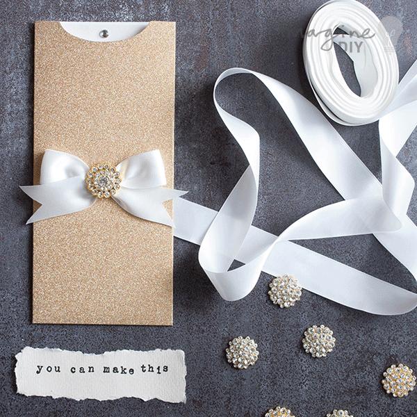 How To Make Striking Glittery Wallet Invitations Imagine Diy Diy Wedding Stationery Make Your Own Wedding Invitations Gold Invitations