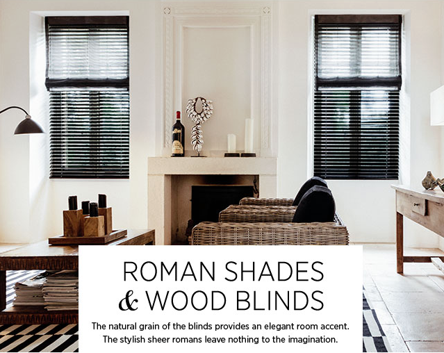 Sheer Roman Shades Over Wood Blinds Available In Hundreds Of Colors And Fabrics At Jv Designworks Wood Blinds Sheer Roman Shades Custom Window Treatments