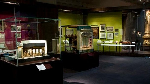 Various set models on display at the VIctoria and Albert Museum,  Room 104b