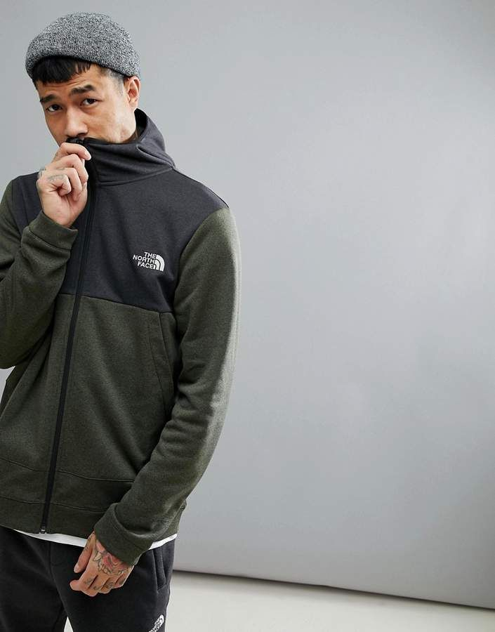 The North Face Mountain Tech Full Zip Hoodie 2 Tone In Green Black ... 86453c5d4