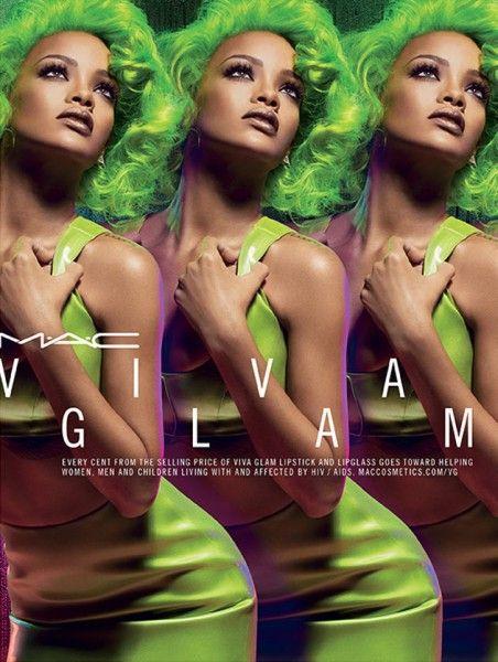 Rihanna de cabelos verdes na Viva Glam pra M.A.C