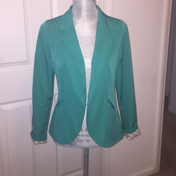 Green Fitted Blazer with Polka Dot Lining Green Fitted Blazer with Polka Dot Lining. Worn once, great condition. Great pop of color. Size Medium, Purchased at Francesca's boutique. Anabella Jackets & Coats Blazers