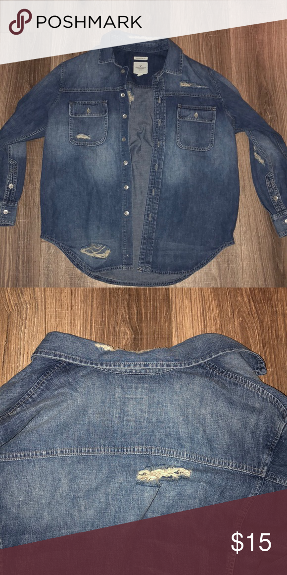 849fe536b1 NEVER WORN American Eagle Outfitters oversized denim jacket with few rips.  Size XS. American Eagle Outfitters Jackets   Coats Jean Jackets