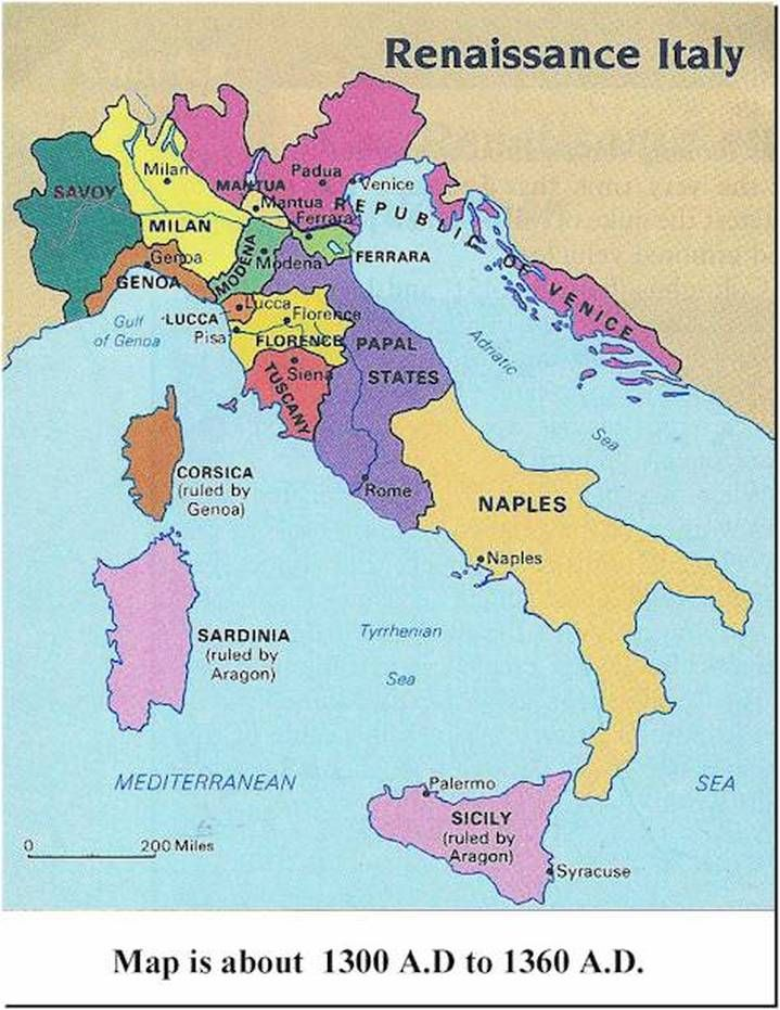 Map of Italy during the Renaissance   As you can see, Italy was