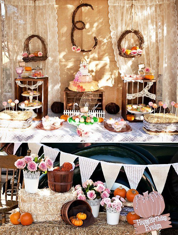 Vintage Pumpkin Roses First Birthday Birthday party ideas
