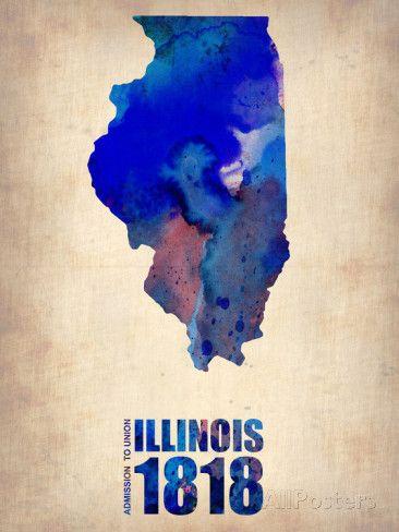 Illinois Watercolor Map Targa in plastica