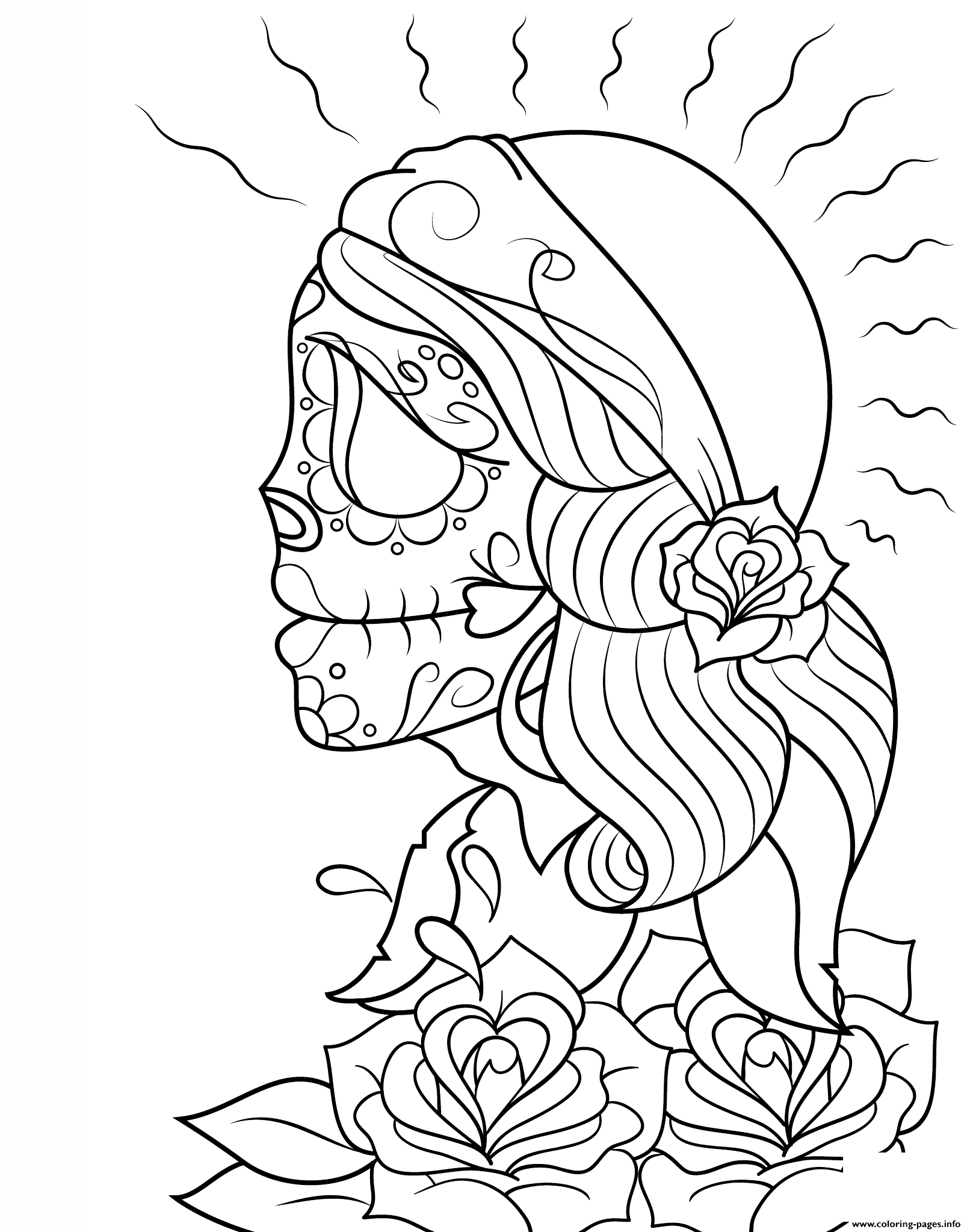 print day of the dead gypsy by asatorarise calavera coloring pages