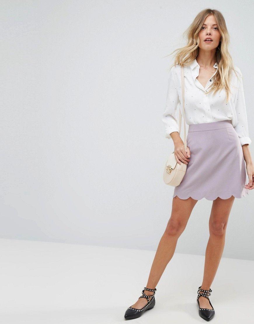 612a5621d1 ASOS Tailored A-Line Mini Skirt with Scallop Hem - Green   Women ...