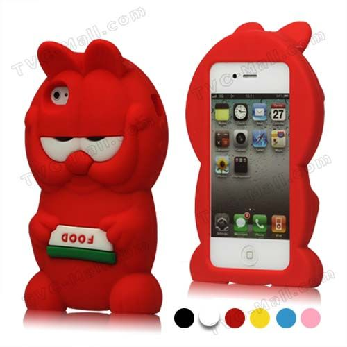 New Lovely Cute Soft Silicone Garfield 3D Case Cover for iPhone 4 4S