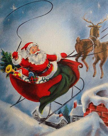 Free Vintage Santa Images - Santa on Sleigh Christmas Vintage