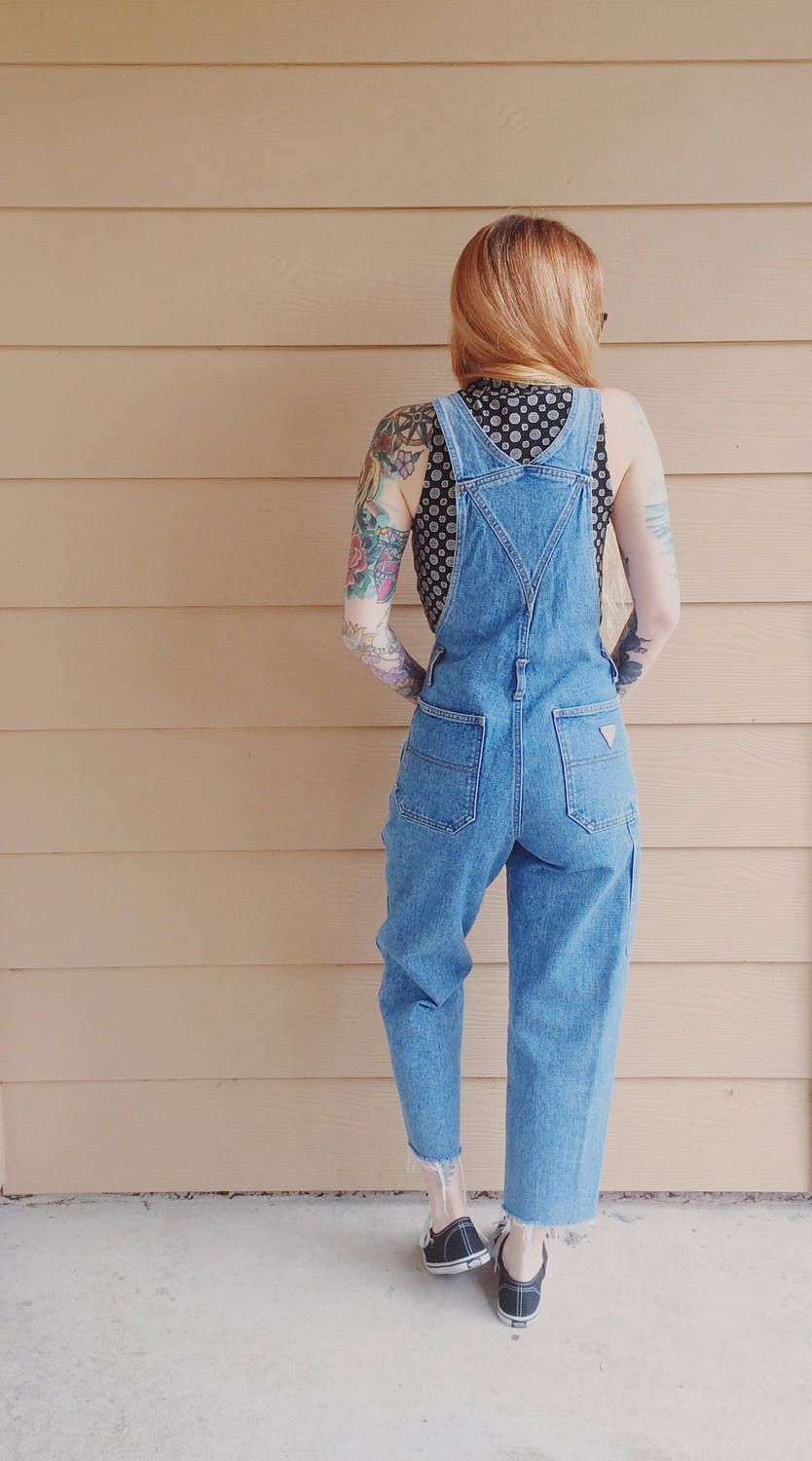 ecc1593033e XS Guess Jeans Perfect Fit Skinny Leg Vintage Denim Jean Overalls Dungarees     Women s size 24 25 1 2 Small S