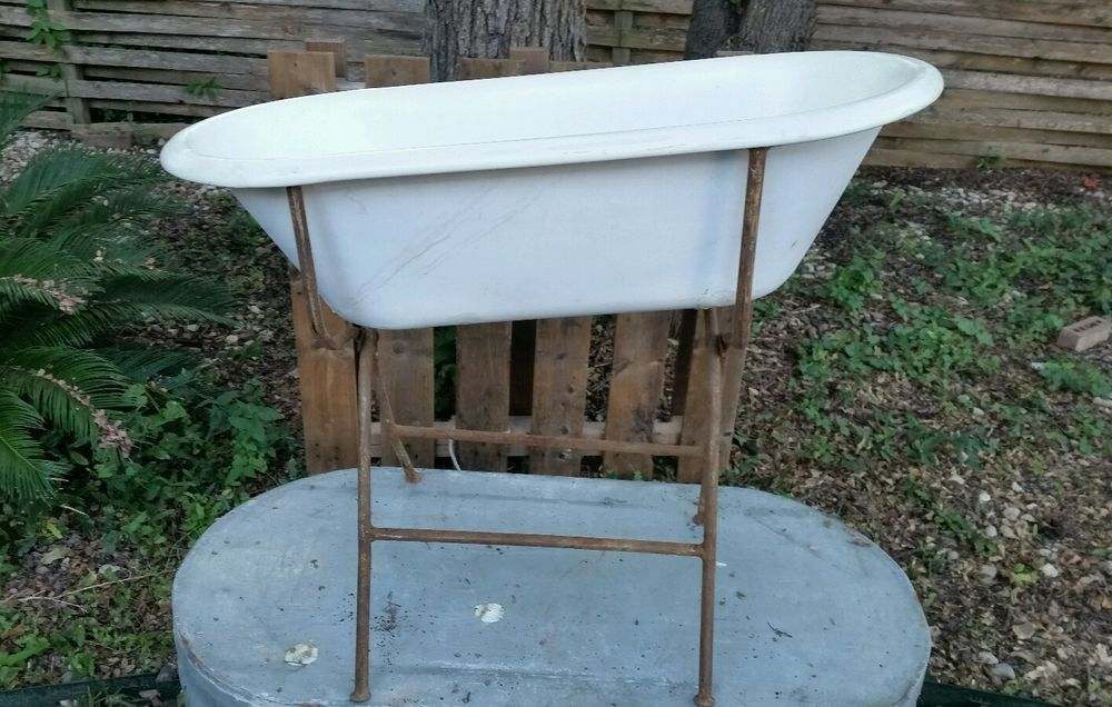 ANTIQUE FRENCH BABY PORCELAIN BATH TUB WITH METAL FOLDING STAND ( L ...
